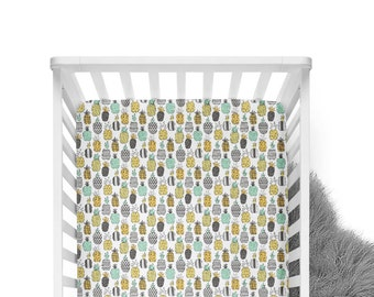 Fitted Crib Sheet Geometric Pineapples -Mint Crib Sheet - Yellow Crib Sheet - Pineapple Crib Sheet- Crib Bedding- Crib Sheet-Organic