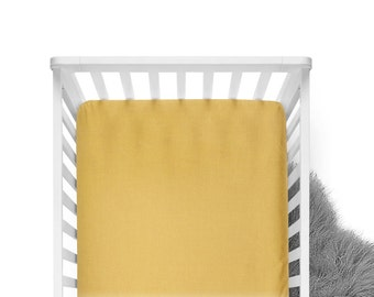 Fitted Crib Sheet - Mustard - Solid Crib Sheet - Flat Crib Sheet - Crib Sheet - Toddler Sheet - Baby Sheet - Mustard Fitted Sheet-Bedding