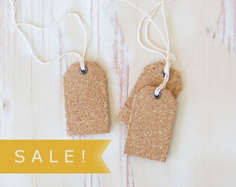 "Cork Small Gift Tags with Twine - 6 pc - 1.5"" x 2.375"" - SALE!"