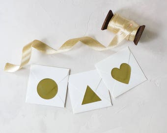 "Gold Foil Large Sticker - 1.5"" - 36 pc - Circle / Triangle / Heart"