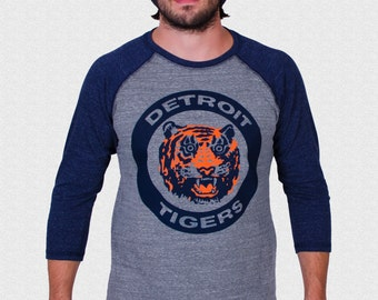 Detroit Tigers Raglan Shirt 1984 Logo triblend 3/4 sleeve unisex 1984 World Series Tigers Fan Gift USA made Fathers Day Gift For Dad