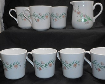 Corelle My Garden Set of 7 cups plus Creamer Pitcher