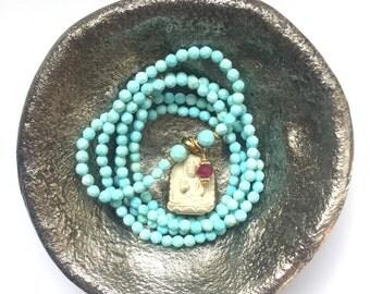 TURQUOISE & Ruby Buddha mala necklace