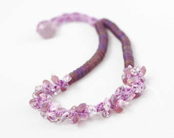 Purple beaded necklace Spring fashion Crochet jewelry Romantic Feminine Gift for her Handmade Boho chic Bohemian jewelry Wedding