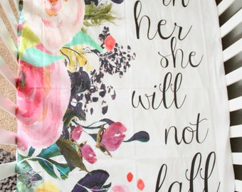 God is in Her Baby Crib Sheet, Floral, Scripture, Bible verse, Life verse, Girl Nursery Modern Decor Psalm, bohemian flower
