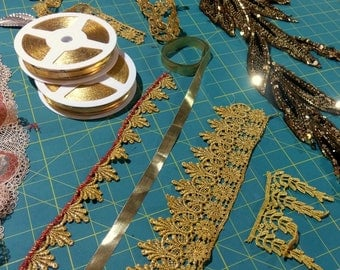 Over 50 yards - LOT of Trim & Beaded Appliques - Golds and Reds