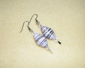 Handmade Recycled Paper Bead Earrings with glass crystal beads and surgical steel hooks