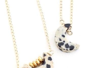 Petite Moon Dalmatian Jasper Necklace -- layering black/white crescent moon short length, natural, b/w, gem, neutral minimalist