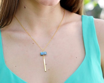 Gold Labradorite Bar Necklace, Gold Bar Necklace, Labradorite Y Necklace, 14kt Gold Filled