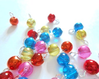 Metallic/Transparent Multi-Color Glass DangleBeads