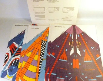 Vintage Paper Airplanes Aircraft / Lot of 5 by CURRANT / Fold & Fly VINTAGE 1980's - Stealth Fighter, Skipper, Hang Glider, Aviation Model