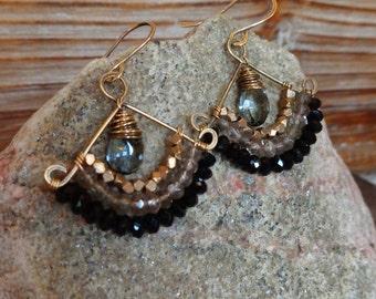 SanFran. Artisan Hammered Brass Drop Earrings with Wire Wrapped Gems-Gray Quartz, Smoky Quartz, Black Gemstone, Tribal Brass, Boho, Gypsy