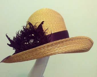 straw hat, Silk flower,Natural stones