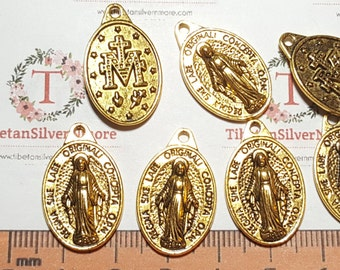 8 pcs per pack 25x16mm Miraculous Charm Antique Gold Lead free Pewter