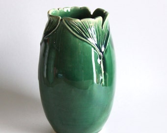 Emerald Ginkgo Leaf Vase - Hand Thrown Crock Vase - Minimalist Home Decor - READY TO SHIP