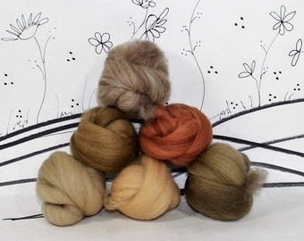 Wooly Buns wool roving assortment in Weekend Khakies, 6 piece roving sampler, needle felting supplies, 1.5 oz, variegated tan shades, roving