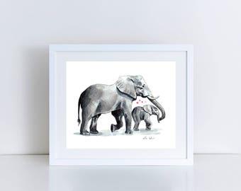 Elephant Mom and Baby Kiss Giclee Print of Watercolor Zoo Nature Safari Circus Painting Baby Family Mom Love Newborn Motherhood