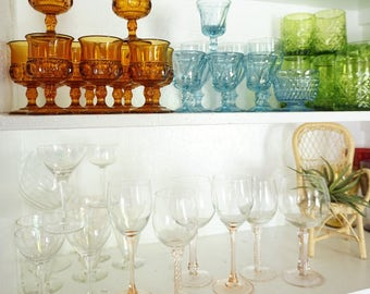 Vintage Amber Kings Crown Thumbprint Pressed Glass Goblet Wine Cups - Set of 12