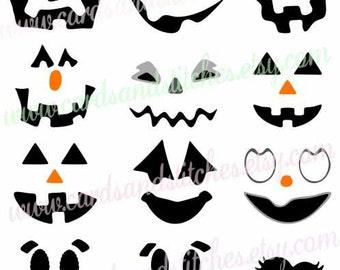 Pumpkin Faces SVG - Halloween SVG - Digital Cutting File - Cricut SVG - Vector Cut File - Instant Download - Svg, Dxf, Jpg, Eps, Png
