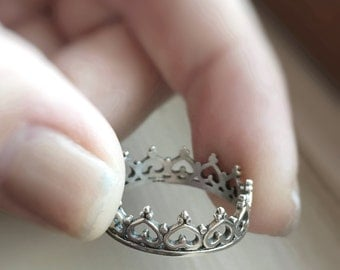 Crown Ring Sterling Silver Princess Queen Fancy Heart Royalty Stacker Stacking Simple Ring
