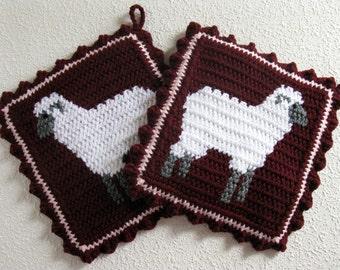 Lamb Pot Holders. Claret, crochet potholders with white sheep. Farm animal decor
