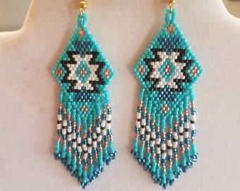 Native American Style Beaded Rug Earrings Black, Turquoise, White, Copper Boho, Southwestern, Fringe, Geometric, Brick Stitch Ready to Ship