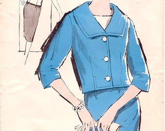 Chic Uncut Vintage 1960s Advance 2857 Sew Easy Crop Jacket Suit, Slim Skirt and Blouse Sewing Pattern B38 W30