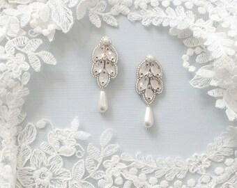 Silver crystal pearl drop earrings