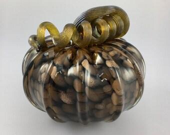 """4.5"""" Glass Pumpkin by Jonathan Winfisky - Rose Gold Glimmer Series - Black - Hand Blown Glass"""