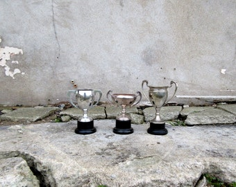 Trio of Vintage Mid Century Sporting Trophies