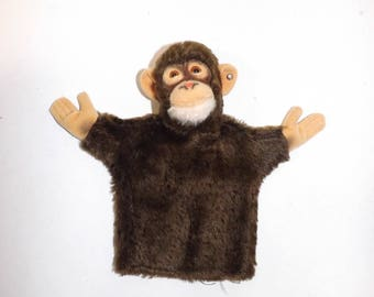Vintage Steiff monkey gorilla Jocko hand puppet mohair soft toy collectables stuffed animal with button in ear