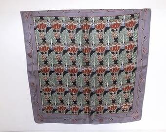 Vintage Liberty of London silk floral flower leaf square scarf designer Arts and Crafts Art Nouveau