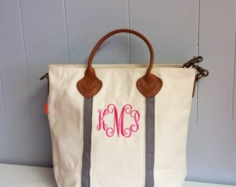 Monogrammed Canvas Tote, Monogrammed Laptop Bag, canvas tote bag, Shoulder Bag, monogrammed gifts, monogram Tote Bag, Travel Tote,