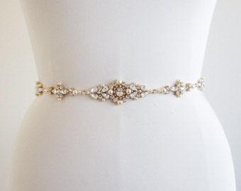 Bridal belt, Swarovski bridal belt sash, Wedding belt in Gold, Silver, Rose gold, Rhinestone bridal belt, Skinny belt sash crystal and pearl