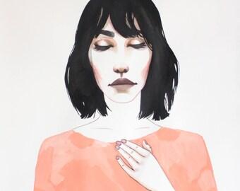 Original Painting, Won't Forget You, Watercolor Art, Figurative Woman Portrait