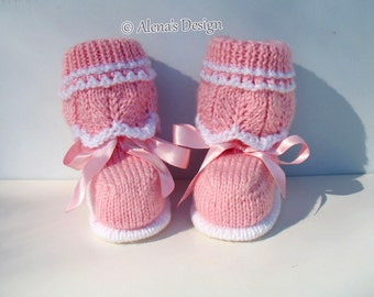 Knitting Pattern 185 - Knitting Booties Pattern Knitting Patterns High-Top Baby Booties Newborn Baby Boys Baby Girls Pink Grey Baby Shower