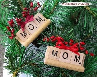 MOM Scrabble Ornament with Tile Tray - Your Choice of Red or Burgundy Berries & Bow -Stocking Stuffer, Tree Ornament, Package Tie-On