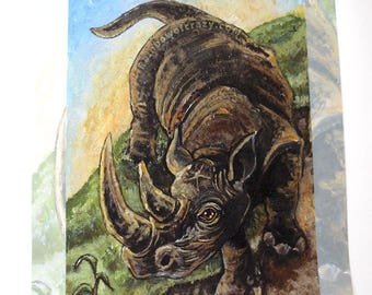 SALE: Rhino Art // MINOR DEFECTS // 11x14 Print, Rhinoceros Art, Nature Wall Art, Wildlife Decor, Zoo Animal Poster, Animism Tarot Deck