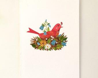 Original watercolor illustration - Bird in Nest