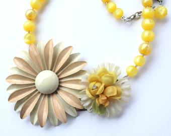 Daisy Necklace, Flower Necklace, Statement Necklace, Spring Necklace, Primrose Hazelnut, Recycled Jewelry,Recycled Necklace,Upcycled Jewelry