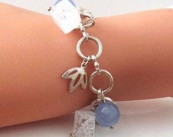 Sterling Silver Blue Jade Bead Cube Link Charm Bracelet, Handmade