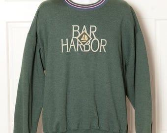 Vinage 80s 90s BAR HARBOR Green Sweatshirt