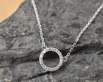 Eternity Circle Necklace, Eternity Circle Pendant, 925 Sterling Silver, Crystal Necklace Pendant, Bridesmaid Gift, Bridesmaid Necklace