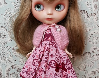 Burgundy and Pink Paisley Blythe Dress and Pink Mohair Cape Set