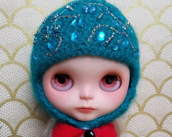 Emerald Blue Emroidered Helmet for Blythe
