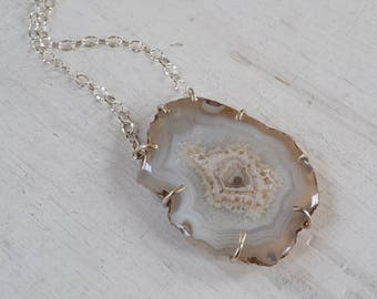 Natural Grey Agate Prong Set Pendant Necklace, Statement Sterling Silver Stone Necklace, Boho OOAK Gemstone Jewelry