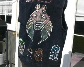 star wars hand painted vest  size med