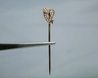 Antique Victorian Pin 10K Gold Seed Pearl Heart with Arrow Design Stick Pin DanPickedMinerals