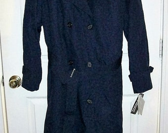 Vintage Ladies Navy Blue Trench Coat w/ Zip Out Thinsulate Liner by Martins Size 16 Only 32 USD