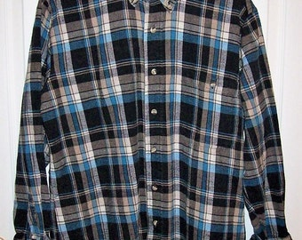 Vintage Men's Blue & Black Plaid Flannel Shirt by Members Only Medium Just 8 USD